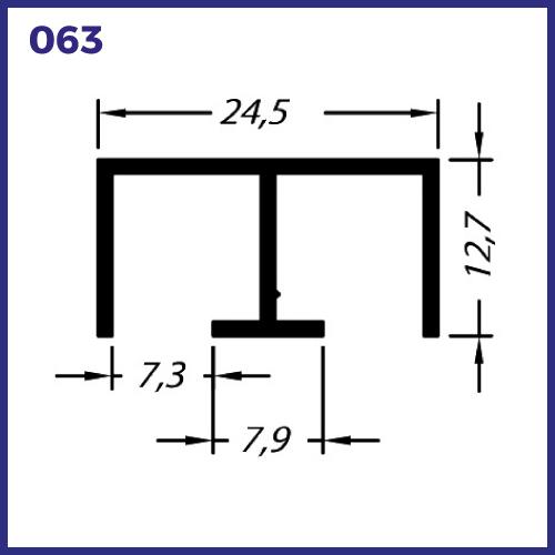 O63 - TRILHO SUPERIOR PARA VITRINE